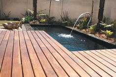 An elegant spout turns a small swimming pool into a water feature. Landscaping: Green by Nature. Small Swimming Pools, Small Pools, Swimming Ponds, Pool Water Features, Water Features In The Garden, Outdoor Spaces, Outdoor Living, Outdoor Decor, Outdoor Ideas