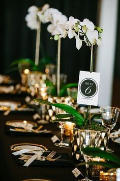 gold and black wedding reception table with white orchids
