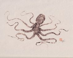 GYOTAKU print - repro of traditional Japanese fish art - OCTOPUS (2) by dowaito on etsy