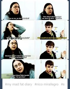 Rae and Finn realise they're locked in the disabled loo! (My Mad Fat Diary)