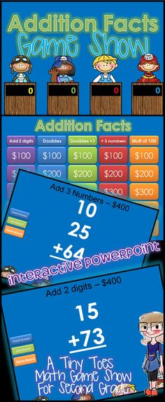 """Looking for an exciting way to review Addition for Second Grade? Here it is..and in a fun, INTERACTIVE powerpoint! With 25 practice problems, in a game show setting, your students will get lots of review.  Game Show categories include: add two digits, add doubles, add doubles +1, add 3 numbers, add multiples of 100  You AND your kids are going to love choosing which """"contestants"""" team they are on: the pilot, the mail carrier, the construction worker, and the fireman. $"""