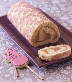 Gâteau roulé Barbapapa (existe aussi en Hello Kitty) réalisé avec une feuille de transfert