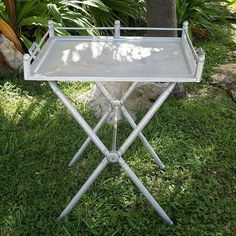 Hammered Aluminum Tray with matching stand would make a nice bar on a porch