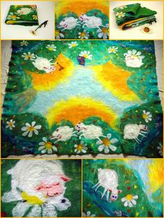 Felted merino baby blanket with funny lambs natural by Allatai, $125.00