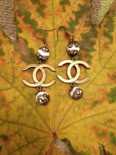 Earrings with agate dzee Chanel charms most от Spillikinsbijou