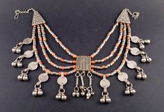Old bedouin coral and silver Yemen necklace, Middle East jewelry, silver hirz, Muslim amulet, bedouin ethnic tribal necklace, belly dance