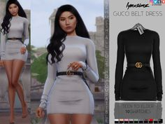 LYNXsimz — GUCCI BELT DRESS sims 4 cc custom content clothing