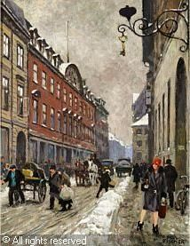 Paul Gustave Fischer (1860-1934): Parti fra Skindergade en vinterdag