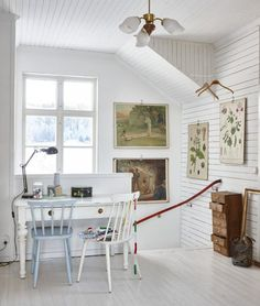 I really like this desk settled right in front of the window. Welcome To My House, Interior Decorating, Interior Design, Attic Spaces, Scandinavian Living, Shabby Chic Homes, Inspired Homes, Swedish Cottage, White Walls