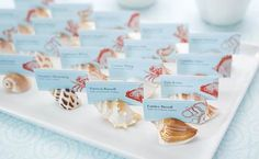 Seashell escort cards for beach wedding