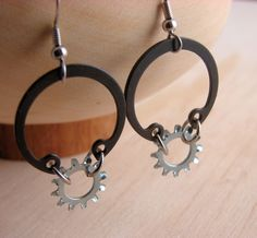 Steampunk Dangle Earrings Hoop Earrings Hardware Jewelry Industrial Black Metal Eco Friendly