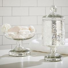Mercury Glass Accessories #potterybarnteenOHMMGEE i have been looking with the perfect bathroom cotton ball jar for years, i think this may be it :))