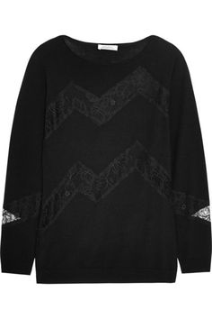 Nina Ricci | Lace-paneled wool and cashmere-blend sweater | NET-A-PORTER.COM