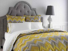 Yellow and Gray Bedding with desk lamp