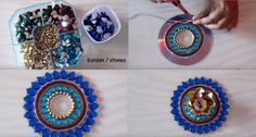 Recycle an old CD and make it a diya or tealight candle stand. And other adorable DIY ideas :) Recycled Cd Crafts, Old Cd Crafts, Diy Arts And Crafts, Cute Crafts, Diy Craft Projects, Craft Ideas, Diy Crafts, Diwali Diy, Diwali Craft