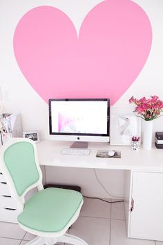 A big pink heart wall decal to punch up a home office. Home Office Space, Home Office Decor, Office Ideas, Office Nook, Desk Space, Office Spaces, Office Designs, Childrens Room, Heart Wall