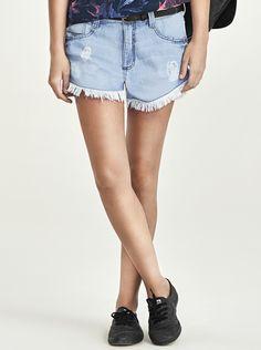 Shorts Feminino Assimétrico Jeans Com Rasgos | Shorts | Feminino | Hering