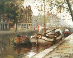 Amsterdam Art, Dutch Painters, Old Paintings, Dutch Artists, Vintage Prints, Art Gallery, Fine Art, Boats, Ships