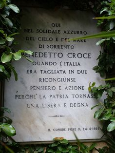 Plaque on the gates of Villa Tritone, Sorrento, Italy