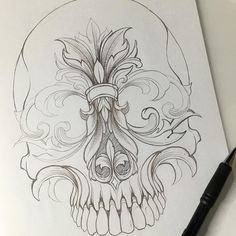 Zeichnungen Einfach - Slow and easy. Not in a rush. Tattoo Design Drawings, Skull Tattoo Design, Pencil Art Drawings, Tattoo Sketches, Cool Drawings, Drawing Sketches, Skull Drawings, Drawing Ideas, Pencil Sketching