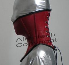 73cbebd2d3 Red Real Leather Over Mouth Neck Corset Posture Collar