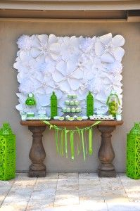 Green and white Dessert Table