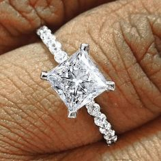 1.30ct Brilliant Princess cut solitaire Engagement ring in 14k solid white gold #Solitaire