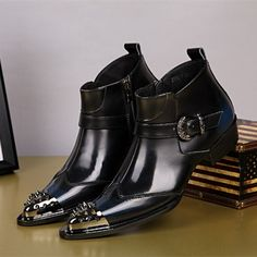 Choudory Italien Chaussures Automne Hiver Martin Bottes De Fourrure Véritable En Cuir noir travail moto bottes Hommes Chaussures Cloutés Cowboy Bottes