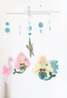 Sirène Starfish hippocampe bébé Mobile, bulles, océan sur le thème pépinière, mer Mobile, sous la mer, Baby Girl Mobile, océan pépinière Decor