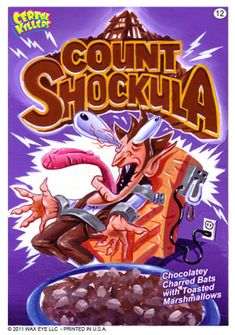 Cereal killer's COUNT SHOCKULA. Chocolatey charred bats with toasted marshmallows.