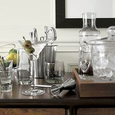 Bola Barware, Tilt Medium Bowl, olive Martini, Bar Tool Set, Pinch Carafe, Pacific Ice Bucket, Willoughby Trays | Crate and Barrel