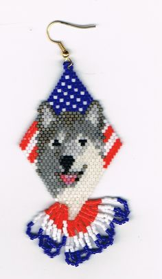 Hand Beaded Laughing wolf Alaskan Malamute in flag by beadfairy1, $25.00
