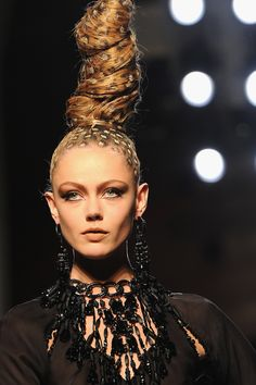 ** Some Jean Paul Gaultier models wore tall twists that were spotted with a leopard-print design.