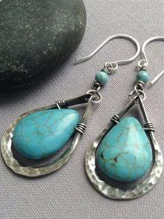 SALE 20%OFF/Hammered Earrings/ Wire Earrings/ Silver Hammered earrings w/ Turquoise Howlite/ Turquoise Howlite Earrings/ Artisan Earrings by reva