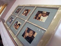 How to Create a Window Frame Photo Collage : Decorating : Home & Garden Television Window Frame Crafts, Window Photo Frame, Painted Window Frames, Old Window Decor, Old Window Frames, Picture Frames, Diy Projects Using Old Windows, Window Pane Pictures, Hang Pictures