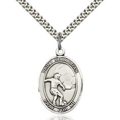 Sterling Silver St. Sebastian / Soccer Pendant 1 x 3/4 inches with Heavy Curb Chain ** Check out the image by visiting the link. (This is an affiliate link and I receive a commission for the sales)
