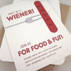 """Have a little fun with your guests and send these """"Don't be a wiener!"""" party invites."""