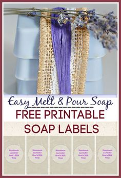 Easy melt and pour soap recipes using essential oils - lavender scented - and comes with free printable soap labels Homemade Christmas Gifts, Homemade Gifts, Diy Gifts, Best Gifts, Diy Christmas, Gifts For Teen Boys, Unique Gifts For Women, Gifts For Teens, Melt And Pour