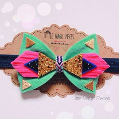 ➤ Material: Wool Felt, Glitter Fabric, Gold Studs, Hand-woven centre.  ➤ Bow Size: 4inches by 3inches.  ➤ Comes specially wrapped so perfect as