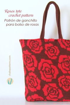 Crochet pattern for roses tote, in tapestry crochet, chart with symbols, photo tutorial and written instructions/ Patrón de ganchillo para bolso de rosas, en tapestry crochet, esquema con símbolos, foto tutorial e instrucciones escritas by ChabeGS