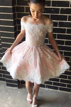 Prom Dresses Short, Short Pink Prom Dresses, Lace Prom Dresses, A Line Prom Dresses, Short Prom Dresses, #lacepromdresses, Hot Pink Prom Dresses, Prom dresses Sale, Cute Prom Dresses, Pink Prom Dresses, Off The Shoulder Prom Dresses, #shortpromdresses