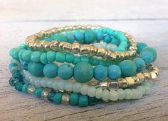 Turquoise beaded bracelet on Etsy, $25.00