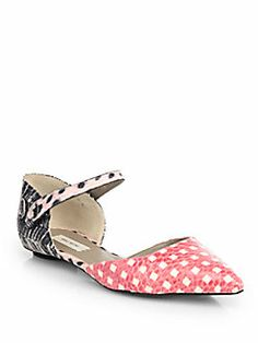 Marc Jacobs - Mixed Print Snakeskin Mary Jane Flats