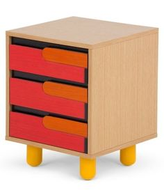 The Poggio Bedside Table in Oak, Red and Orange. Part of the Memphis look. £179 | MADE.COM