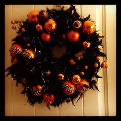 School Spirit Wreath. Superior Panthers. Black Boas and Orange Christmas ornaments.