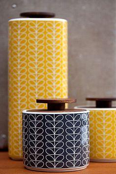 Orla Kiely - Hög förvaringsburk i porslin 3,5 liter - Linear Stem Yellow