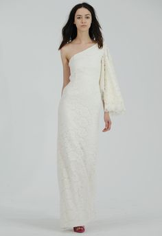 Lace One-shoulder Wedding Dress with Capelet Sleeve | Houghton Bride Fall/Winter 2015 | Blog.theknot.com