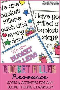 Have You Filled a Bucket Today? by Carol McCloud is the perfect book to teach your students how to be kind and respectful. This bucket filler activities bundle has everything you need to teach your students all about bucket fillers and bucket dippers.  It includes a bulletin board craft, printables, sorts, activities and images for anchor charts.  This resource is perfect for preschool, kindergarten, first grade or any bucket filling classroom. Creative Teaching, Teaching Tips, Teaching Reading, Guided Reading, Teaching Character, Character Education, Bucket Filling Classroom, Teacher Blogs, Teacher Binder