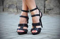 #black #spikes #straps #heels