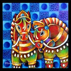 Fabric Canvas Art, Horse Canvas Painting, Fabric Painting, Block Painting, Madhubani Art, Madhubani Painting, Rajasthani Art, Rajasthani Painting, Project Abstract